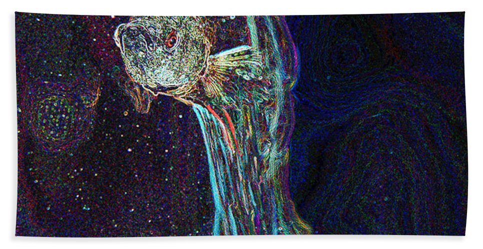 Fish Beach Towel featuring the digital art A Fish Called Poe by Julie Niemela