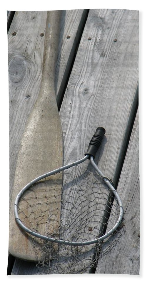 Net Beach Towel featuring the photograph A Fisherman's Tools by Kelly Mezzapelle