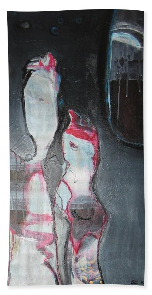 Abstract Paintings Beach Sheet featuring the painting A Flase Rumor by Seon-Jeong Kim