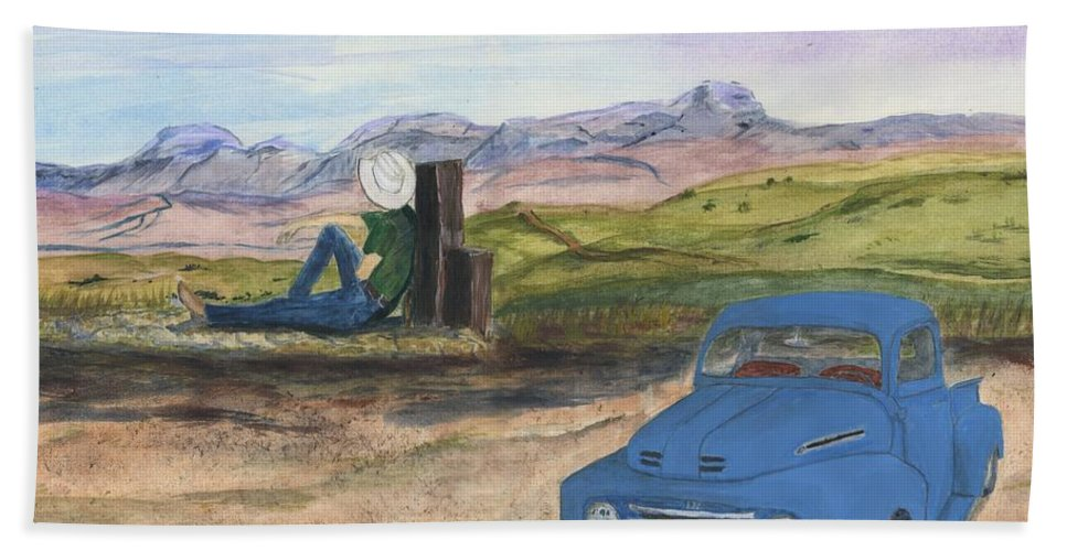 Montana Beach Towel featuring the painting A Ford by Sara Stevenson