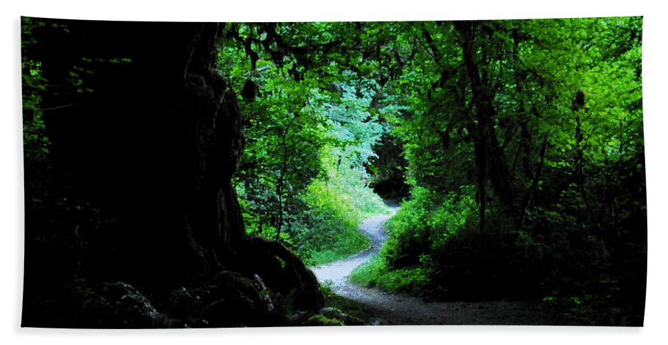 Art Beach Towel featuring the painting A Forest Trail by David Lee Thompson