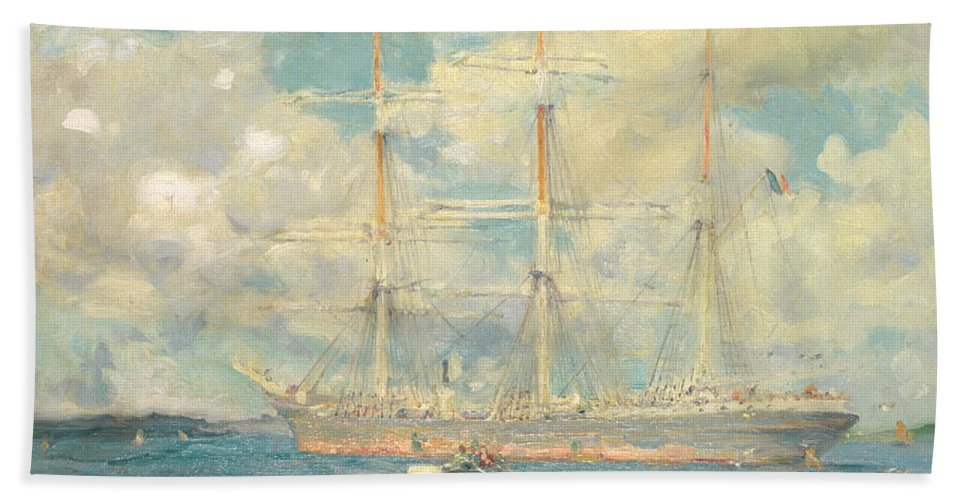 Tuke Beach Towel featuring the painting A French Barque In Falmouth Bay by Henry Scott Tuke