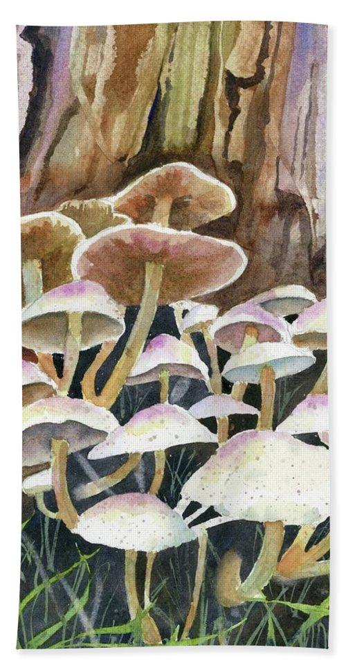 Fungus Beach Towel featuring the painting A Fungus Amongus by Marsha Elliott