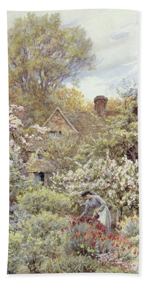 Cottage; Female; Gardener; Rural Scene; Country; Countryside; Home; Path; Wildflowers; Roses; Tulips; Irises; Magnolia; Springtime; Season; Picturesque; Idyllic; House; Female Beach Towel featuring the painting A Garden In Spring by Helen Allingham