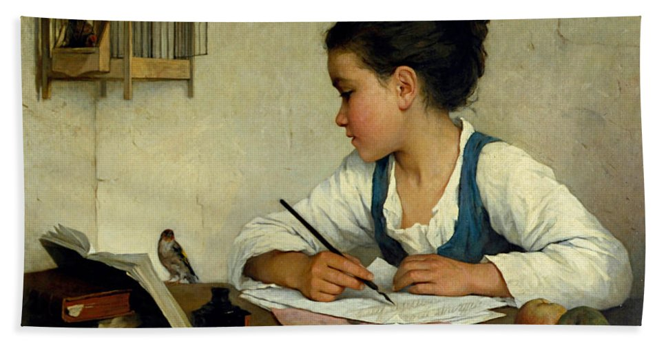 Henriette Browne Beach Towel featuring the painting A Girl Writing. The Pet Goldfinch by Henriette Browne