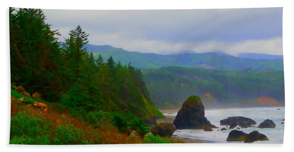 Outside Beach Towel featuring the photograph A Glimpse Of Oregon by Charleen Treasures