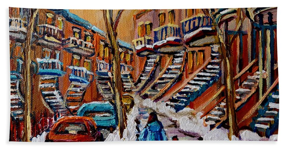 Montreal Beach Towel featuring the painting A Glorious Day by Carole Spandau