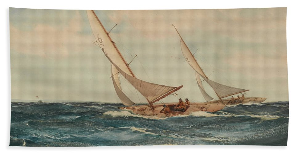 Horizon Beach Towel featuring the painting A Good Breeze by Montague Dawson