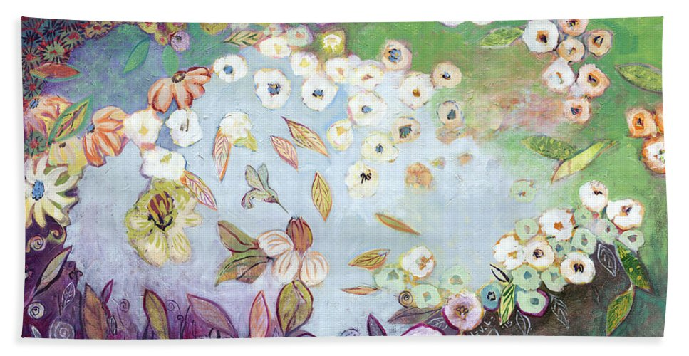Hummingbird Beach Towel featuring the painting A Hidden Lagoon by Jennifer Lommers