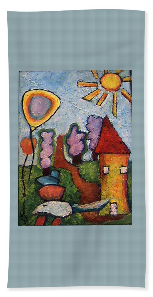 Landscape Beach Towel featuring the painting A House And A Mouse by Ioulia Sotiriou