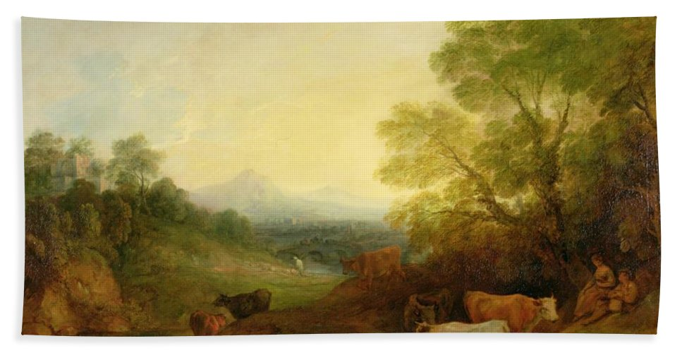 Landscape Beach Towel featuring the painting A Landscape With Cattle And Figures By A Stream And A Distant Bridge by Thomas Gainsborough