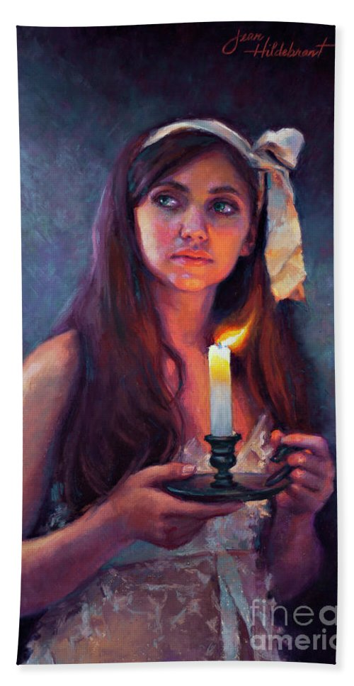 Pastel Beach Towel featuring the painting A Light Unto My Path by Jean Hildebrant