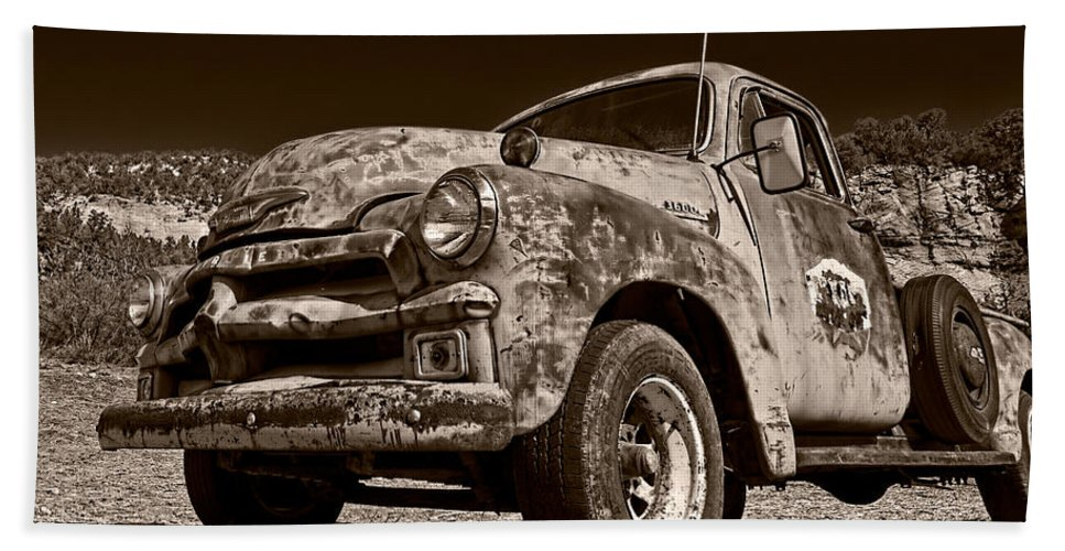 Truck Beach Towel featuring the photograph A Little Wear - Sepia by Christopher Holmes
