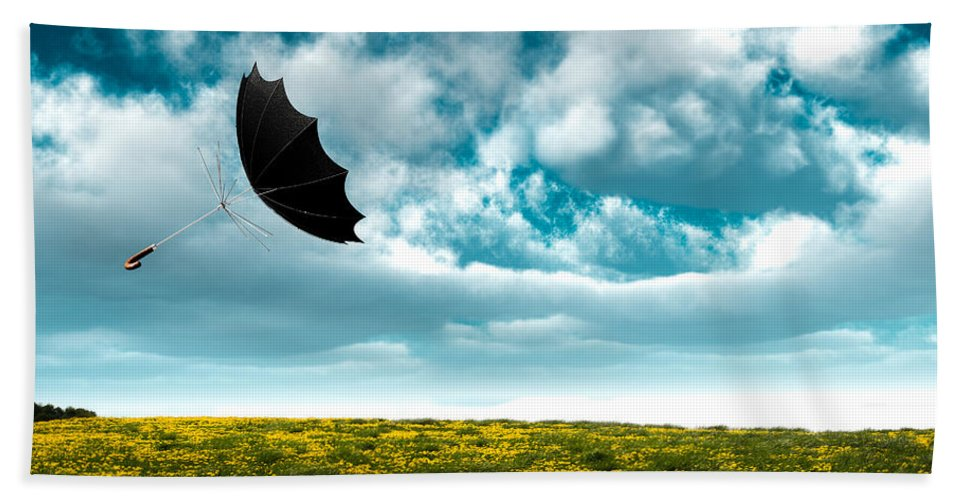 Umbrella Beach Towel featuring the photograph A Little Windy by Bob Orsillo