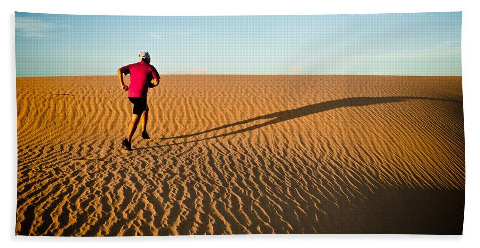 Running Beach Towel featuring the photograph A Long Desert Run by Scott Sawyer