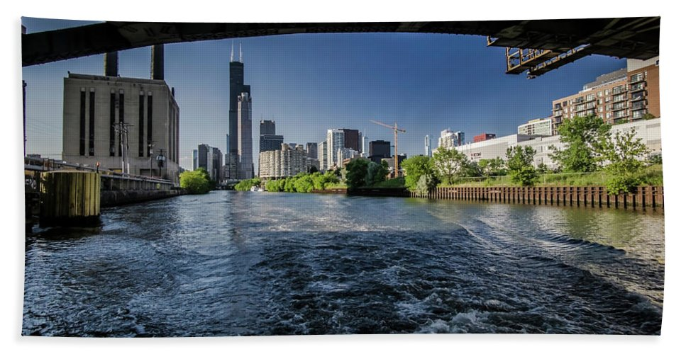 Roosevelt Road Bridge Beach Towel featuring the photograph A Look At The Chicago Skyline From Under The Roosevelt Road Bridge by Sven Brogren