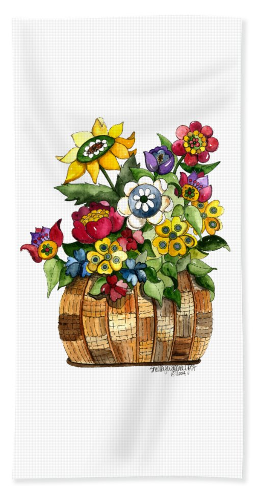 Basket Beach Towel featuring the painting A Lovely Basket Of Flowers by Shelley Wallace Ylst