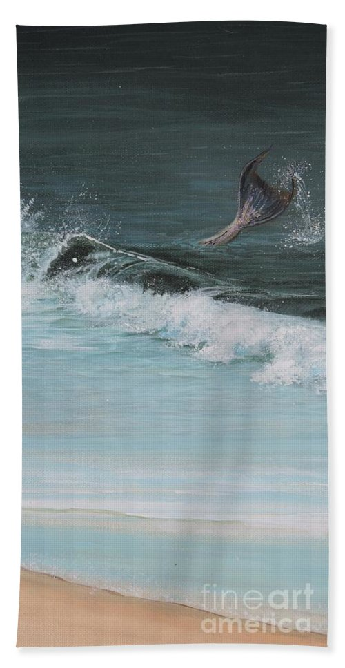 Mermaid I Beach Towel featuring the painting A Magical Moment by Patty Moramarco