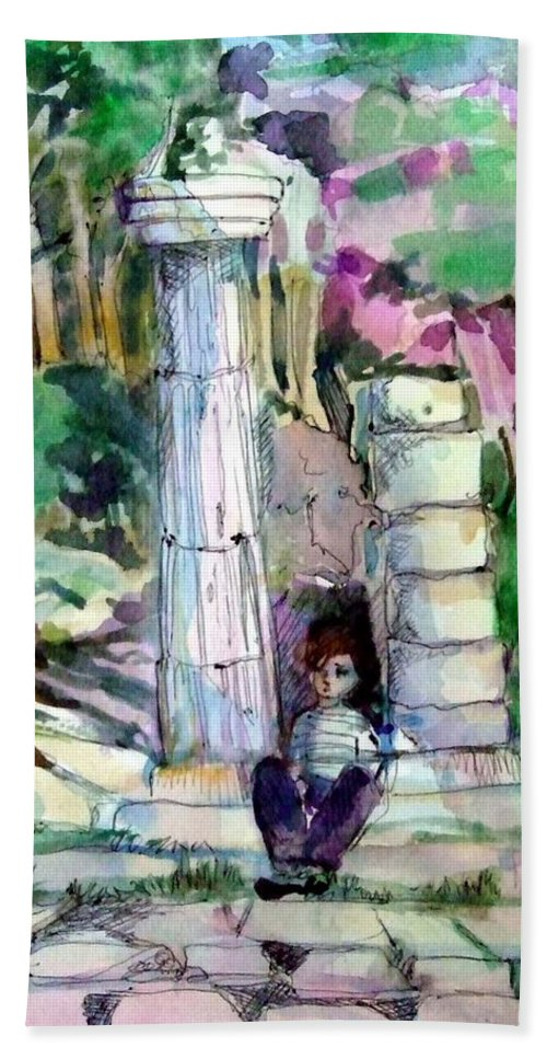 Watercolor Beach Towel featuring the painting A Man In Ruins by Mindy Newman