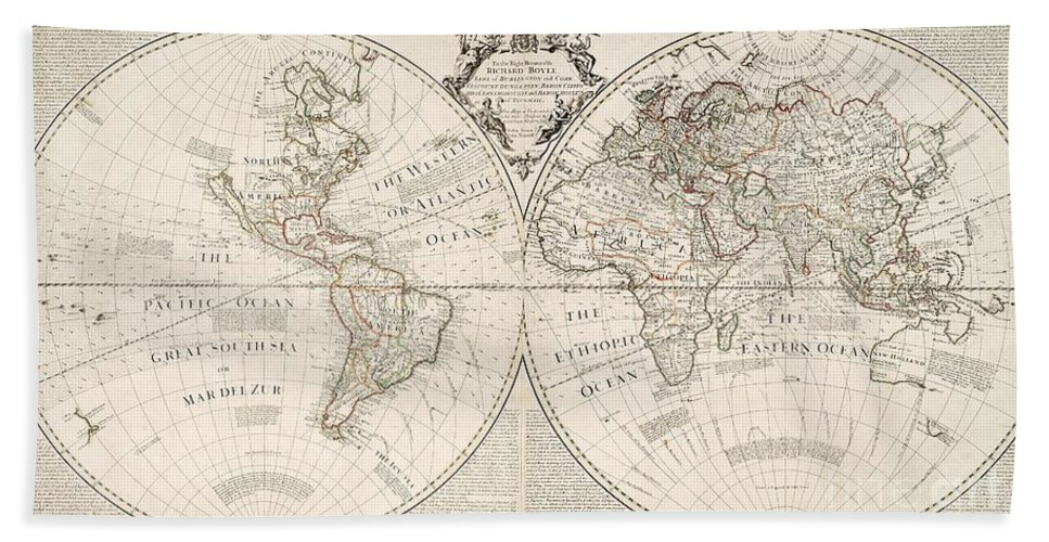 Map Beach Towel featuring the painting A Map of the World by John Senex