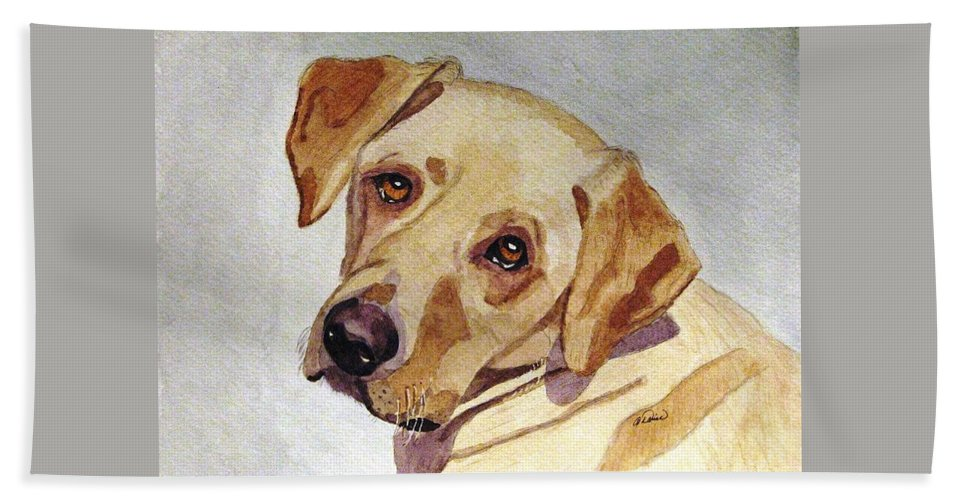 Yellow Lab Beach Towel featuring the painting A Mellow Yellow by Angela Davies