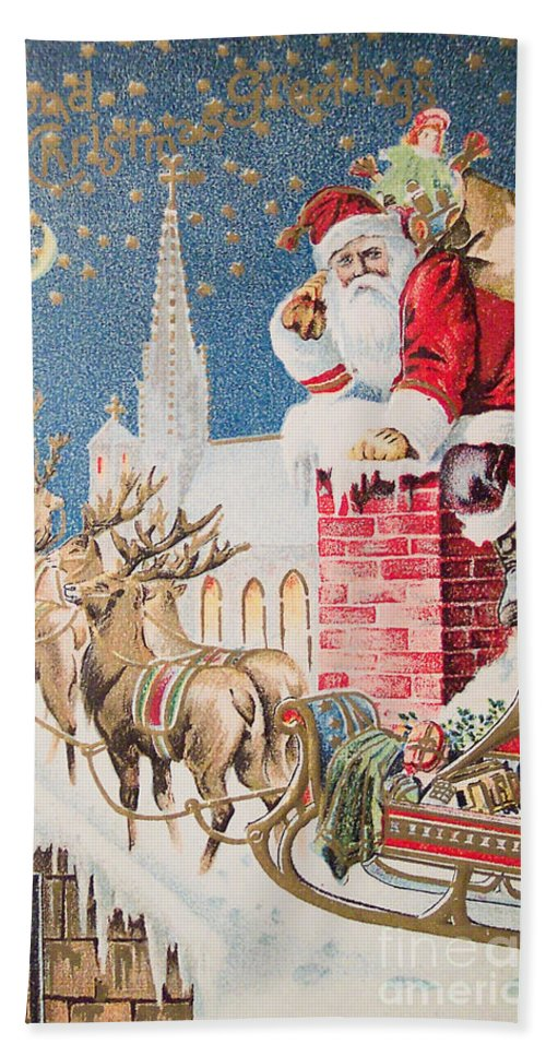 A Merry Christmas Vintage Greetings From Santa Claus And His Raindeer Beach Towel For Sale By Muirhead Gallery
