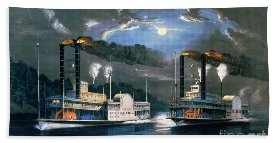 A Midnight Race On The Mississippi Beach Towel featuring the painting A Midnight Race On The Mississippi by Currier and Ives