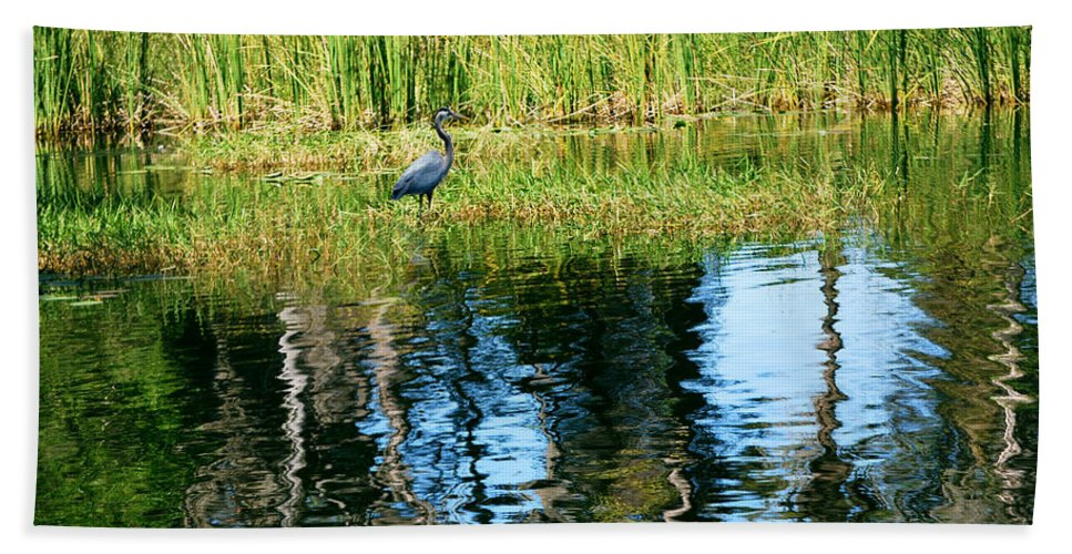 Blue Heron Beach Towel featuring the photograph A Monet Moment by Adele Moscaritolo
