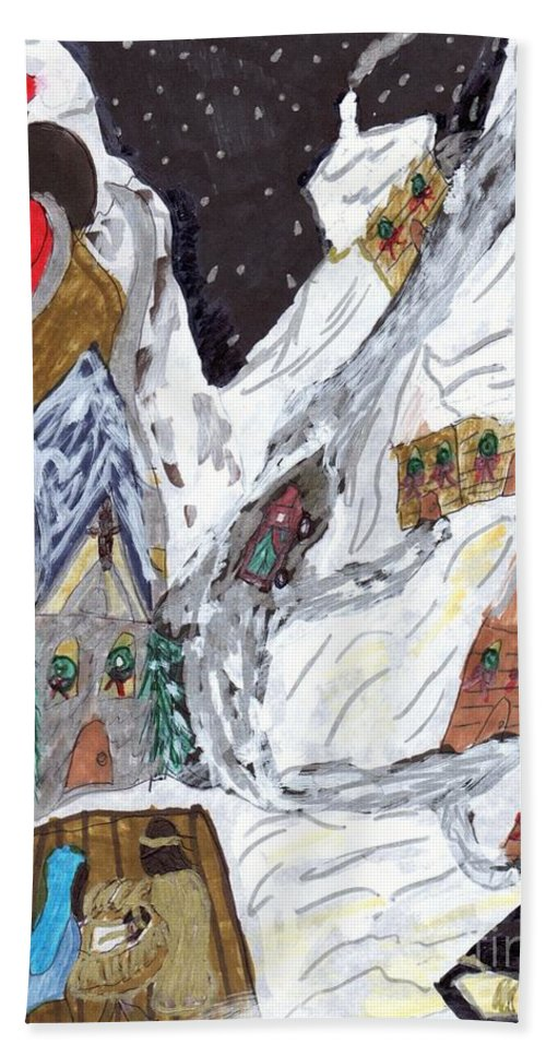 A Christmas Scene In A Mountain Village With Santa And A Living Nativity Beach Towel featuring the mixed media A Mountain Village by Elinor Helen Rakowski