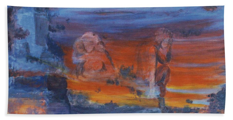 Abstract Beach Towel featuring the painting A Mystery Of Gods by Steve Karol