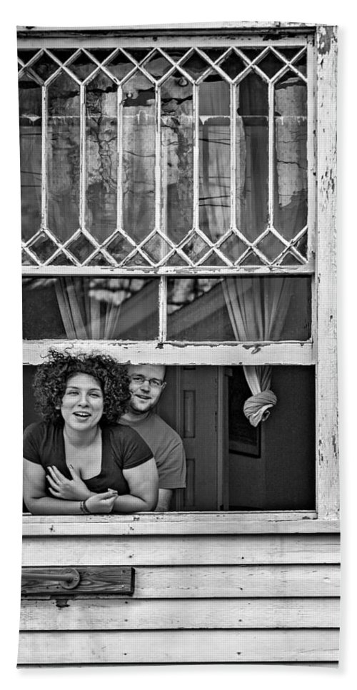 New Orleans Beach Towel featuring the photograph A New Orleans Greeting 2 Bw by Steve Harrington