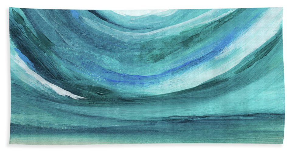 Abstract Landscape Beach Towel featuring the painting A New Start Wide- Art By Linda Woods by Linda Woods