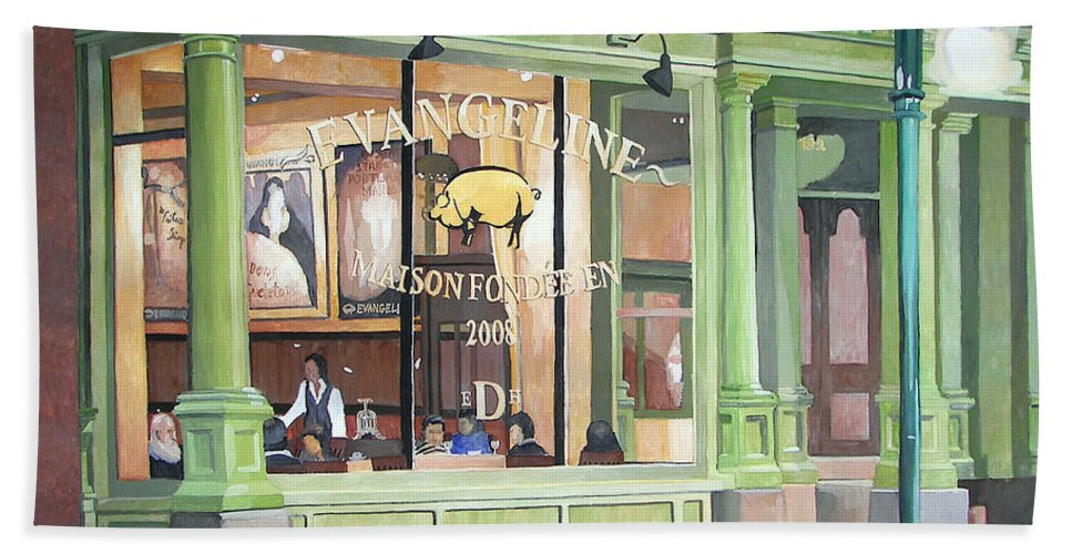 Restaurant Beach Towel featuring the painting A Night At Evangeline by Dominic White