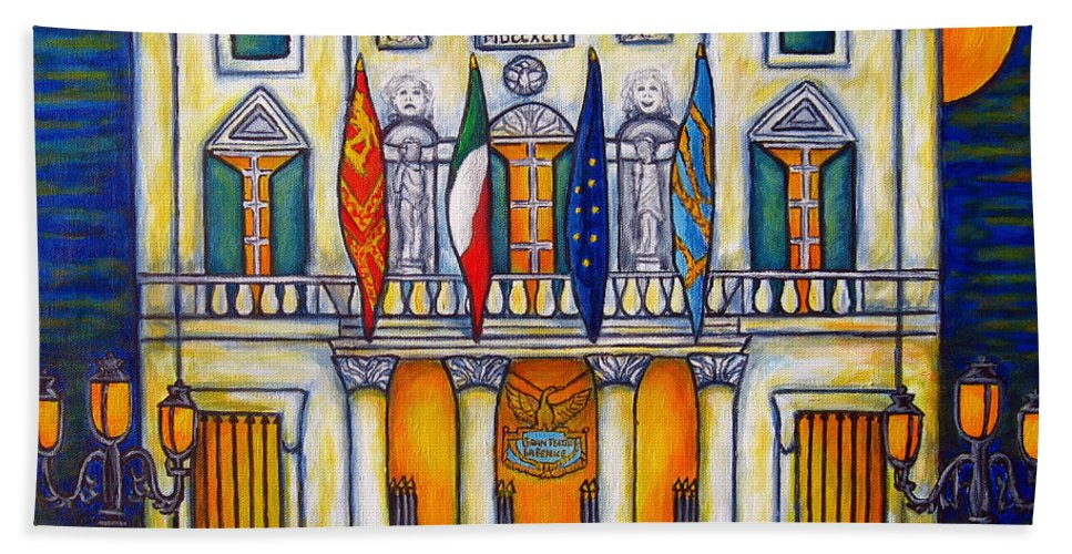 Theatre Beach Towel featuring the painting A Night at the Fenice by Lisa Lorenz