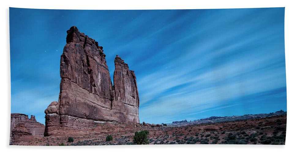 Night Beach Towel featuring the photograph A Nightly Instrument by Eric Belleville
