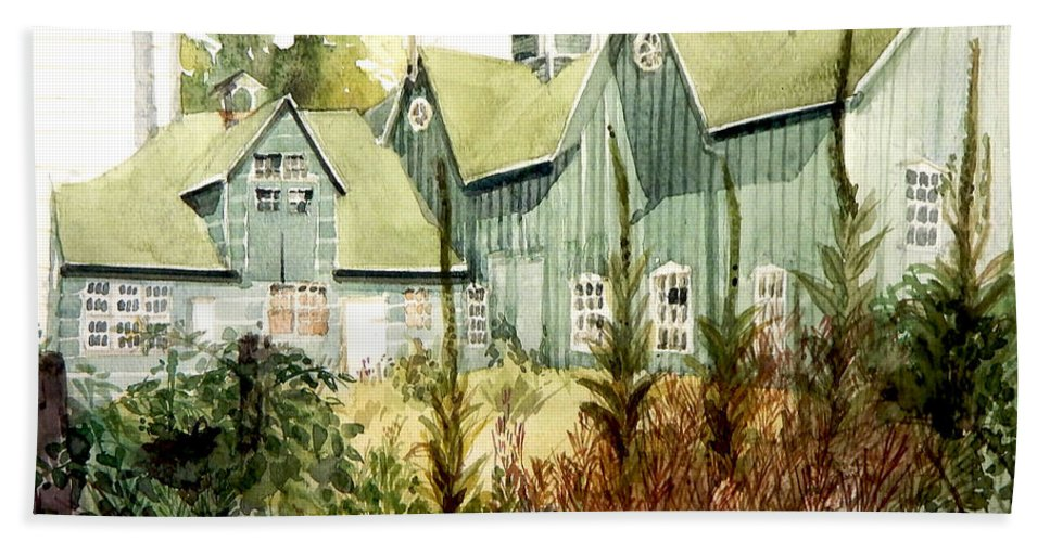 Greta Corens Watercolors Beach Towel featuring the painting Watercolor Of An Old Wooden Barn Painted Green With Silo In The Sun by Greta Corens
