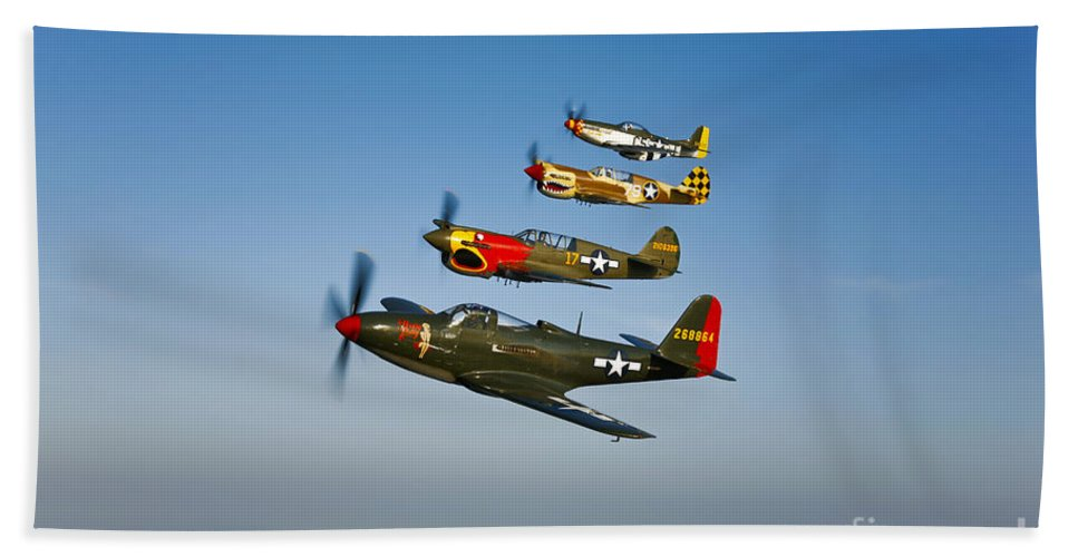 Transportation Beach Towel featuring the photograph A P-36 Kingcobra, Two Curtiss P-40n by Scott Germain