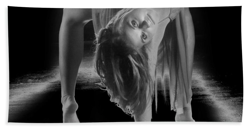 B&w Beach Towel featuring the photograph A Painful Pose by Frederic A Reinecke