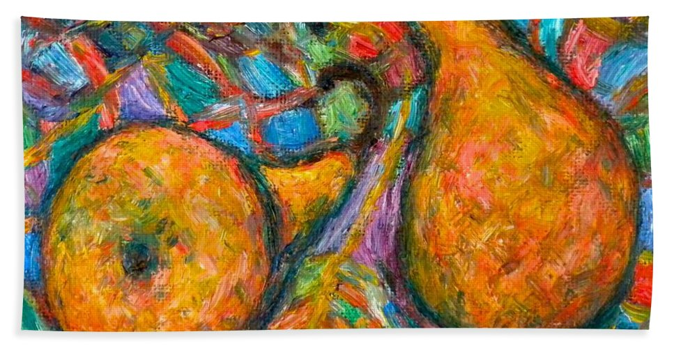 Pears Beach Towel featuring the painting A Pair by Kendall Kessler