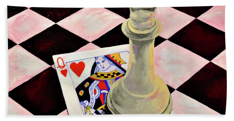 Chess Pieces Card Games Kids Toys Beach Towel featuring the painting A Pair Of Queens by Herschel Fall