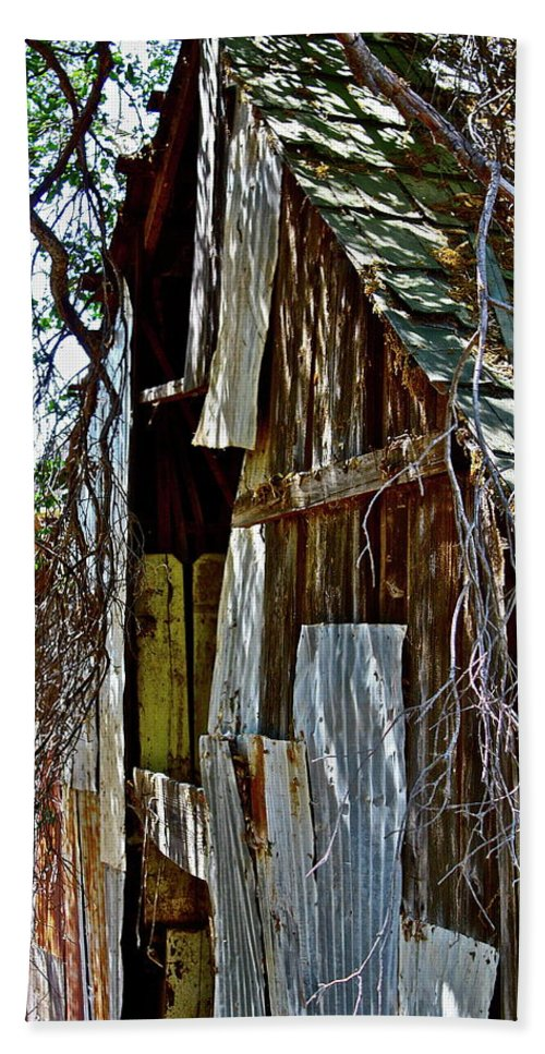 Barn Beach Towel featuring the photograph A Patch Job by Diana Hatcher