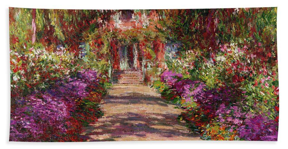 Pathway Beach Towel featuring the painting A Pathway In Monets Garden Giverny by Claude Monet