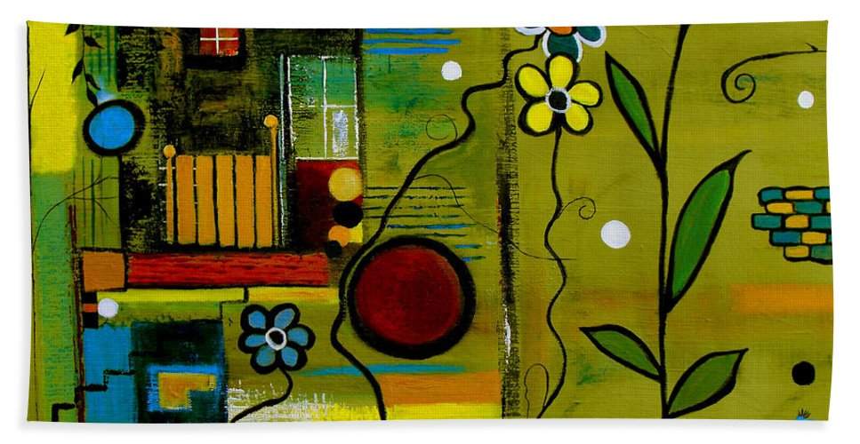 Abstract Beach Towel featuring the painting A Place To Grow II by Ruth Palmer