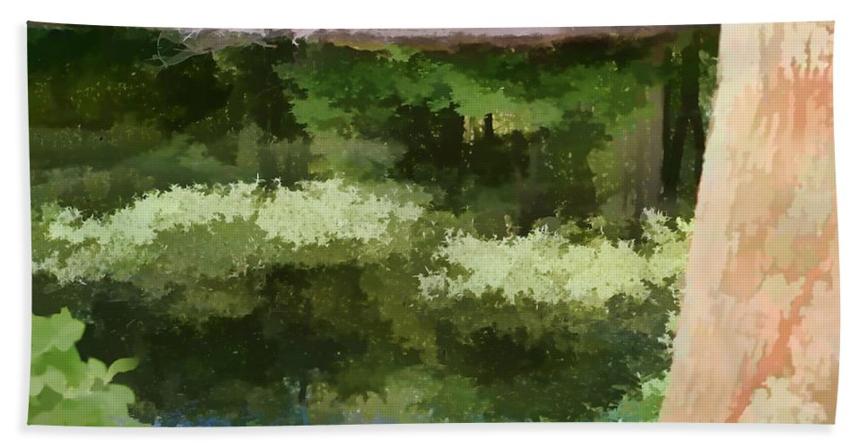 Wall Art Beach Towel featuring the photograph A Pond Reflection by Tom Prendergast
