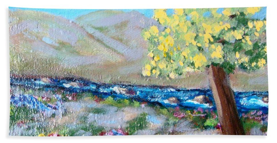 Landscapes Beach Sheet featuring the painting A Quiet Place by Laurie Morgan