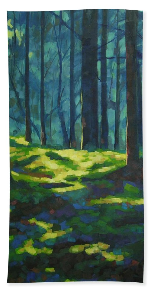 Landscape Beach Towel featuring the painting A Quiet Place by Mary McInnis
