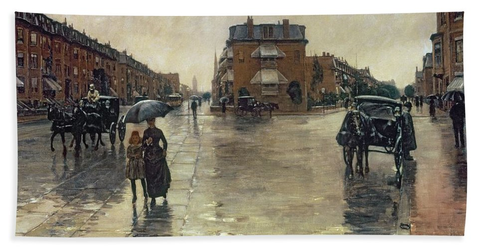 Rainy Beach Sheet featuring the painting A Rainy Day In Boston by Childe Hassam