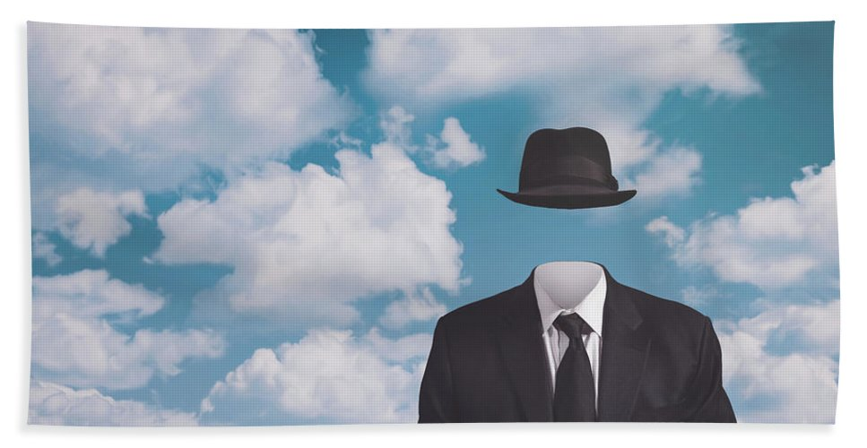 Rene Magritte Beach Towel featuring the photograph A Riff On Magrittes The Pilgrim by Scott Norris