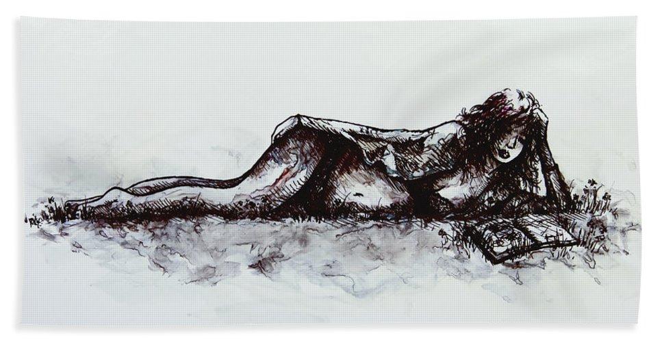 Romance Beach Towel featuring the painting A Romance by Rachel Christine Nowicki