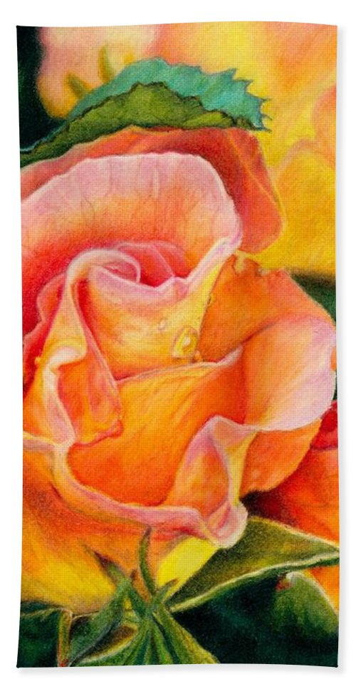 Coloured Pencil Beach Towel featuring the painting A Rose For Nan by Amanda Jensen